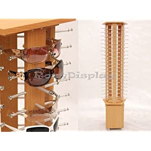 (SU-MZ5015-5) Pentagon laminate Wooden Look Sunglasses Display Stand Rack, Display up to 100 glasses.