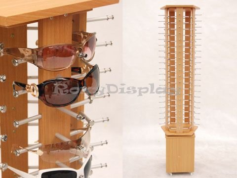 (SU-MZ5015-5) Pentagon laminate Wooden Look Sunglasses Display Stand Rack, Display up to 100 glasses. by Roxy Display