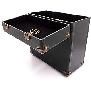 GPGPO Funda de transporte vintage para LPs, álbumes y discos de vinilo de 12 pulgadas (alberga 30 álbumes) - Verde/Negro