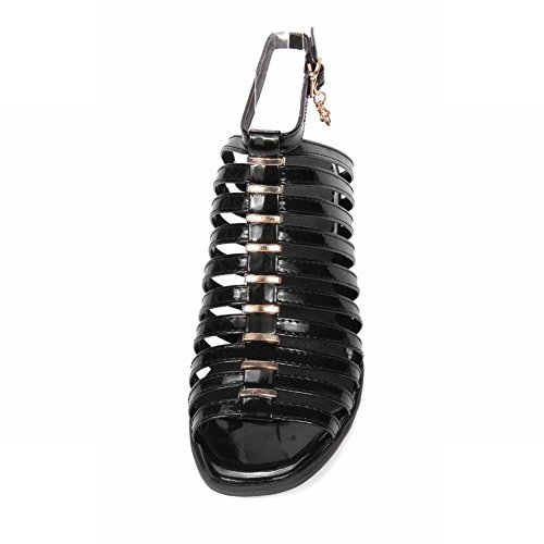 Toe Black Open Ankle Foot Sandals Womens Chunky Heel Strap Charm Fashion 6gqHpIx
