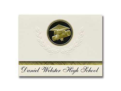 Signature Announcements Daniel Webster High School (Tulsa, OK) Graduation Announcements, Presidential style, Elite package of 25 Cap & Diploma Seal Black & Gold