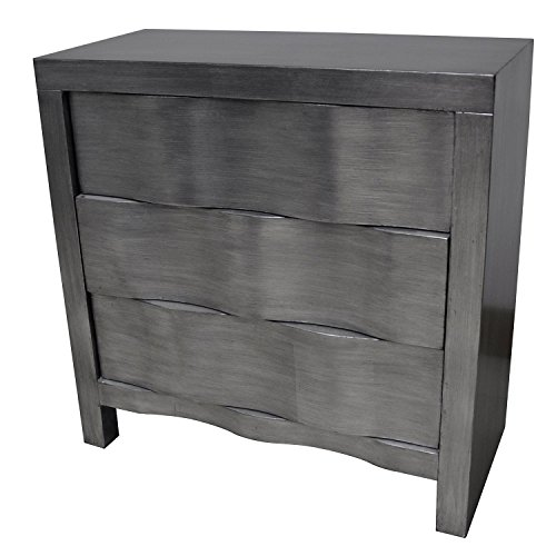 Crestview Baxter 3 Drawer Brushed Silver Hidden Handle Chest CVFZR1774