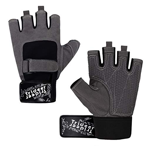 Trideer Workout Gloves, Full Palm Protection & Extra Grip, Gym Gloves for Weight Lifting, Training, Fitness, Exercise (Men & Women) (Grey, S (Fits 6.7-7.1 -