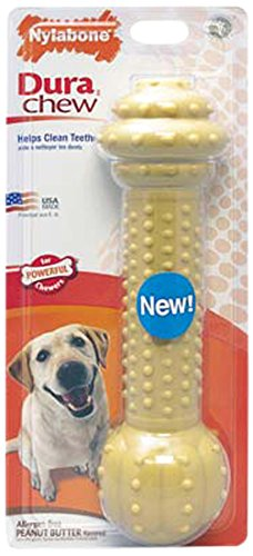 Nylabone Dura Chew Large Extra Large Peanut Butter Flavored Barbell Dog Chew Toy
