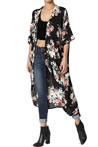 TheMogan Women's Floral Print Kimino Sleeve Longline Cardigan Cover Up Black (Print Knit Duster)