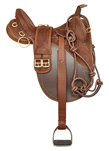 Saddle Stock Australian - Y&Z Enterprises Synthetic Suede Australian Stock Saddle with Horn and Accessaries Size- 16