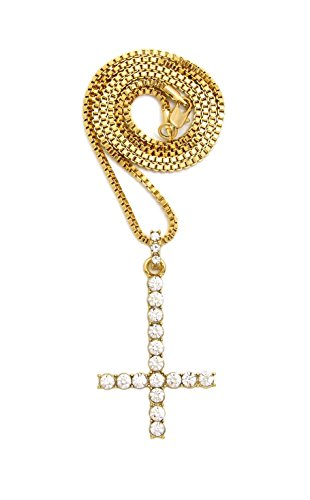 Crown Iced Out Inverted Cross Pendant Necklace, 18