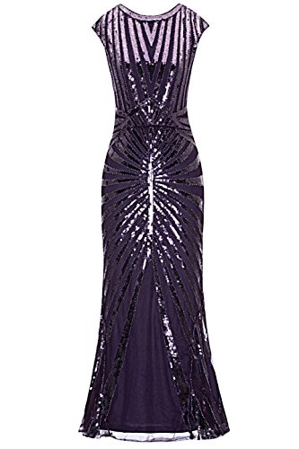Metme Formal Evening Dress 1920s Sequin Mermaid Formal Long Flapper Gown Party ()