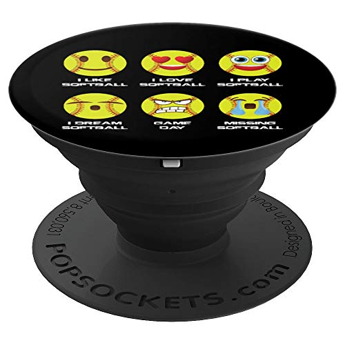 Softball Emoji I Love Softball Emoticon Social Balck Design - PopSockets Grip and Stand for Phones and Tablets]()