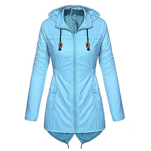 DOLDOA Raincoat for Women's Lightweight Stylish Solid Hooded Waterproof Outdoor Activties Jacket Coat Blue