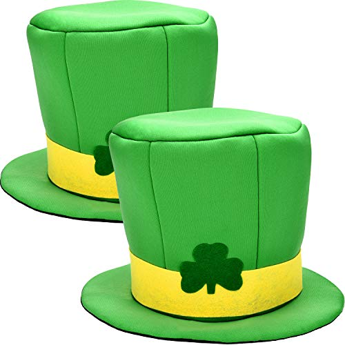 Boao 2 Pieces Green Shamrock Hats Leprachaun Hat Green Top Hats for St. Patrick's Day Party Accessory]()
