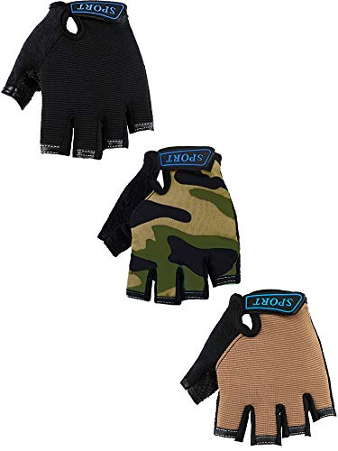 3 Pairs Kids Half Finger Gloves Sport Gloves Non-Slip Gel Gloves for Children Cycling Riding Biking