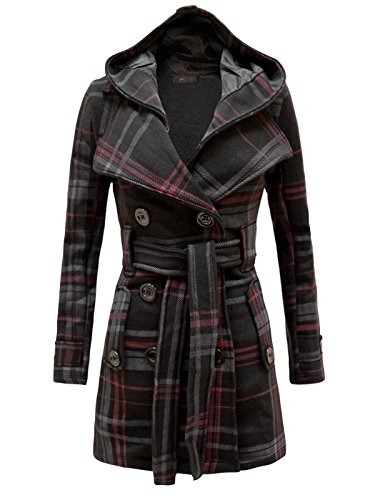 Envy Boutique Women's Military Button Hooded Fleece Belted Jacket Black Check (Black Check Fleece Jacket)