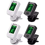 Fangstar Guitar Tuner Clip On Tuner for All Instruments - with Guitar, Bass, Violin, Ukulele, Clear LCD Display For Guitar Tuner Digital Electronic Tuner 4 Pack