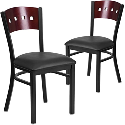 Flash Furniture 2 Pk. HERCULES Series Black 4 Square Back Metal Restaurant Chair - Mahogany Wood Back, Black Vinyl Seat by Flash Furniture