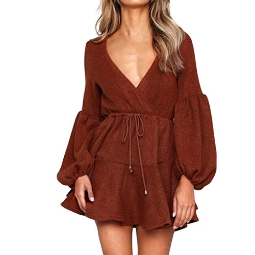 Rambling New Womens Long Sleeve Sexy Deep V Loose Camisole Pleated Skirt Mini Bandage Fashion Dress by Rambling