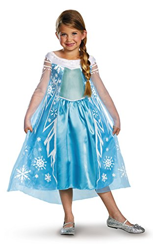 Toned Down Halloween Costumes (Disney's Frozen Elsa Deluxe Girl's Costume, 7-8)