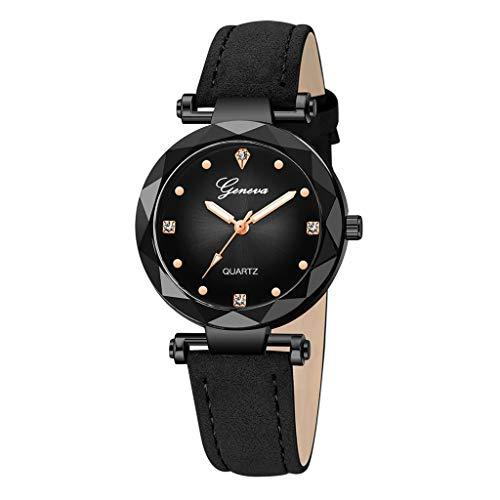 Elegance Stainless Steel Analog - HunYUN Simple Fashion Casual Geneva Women Leather Band Stainless Steel Quartz Analog Wrist Watch A
