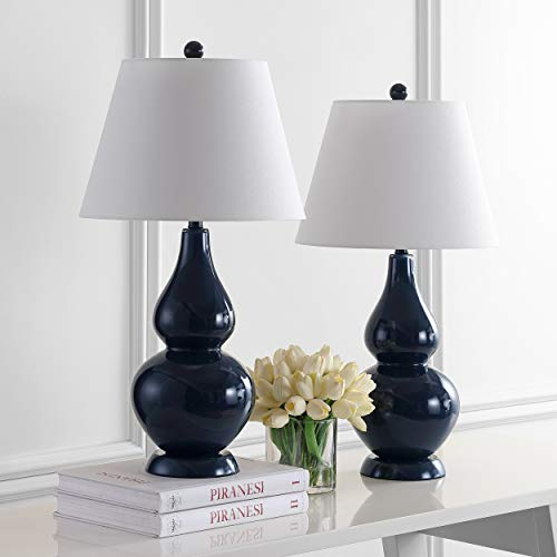 Safavieh Lighting Collection Cybil Navy Double Gourd 26.5-inch Table Lamp (Set of 2) ()