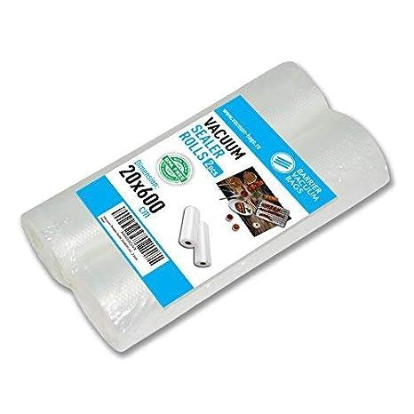 Rollos Envasado al Vacío, 20x600 cm, 2 Rollos   Para el empaquetado de alimentos   Muchas dimensiones disponibles   Compatibles con cualquier maquina ...
