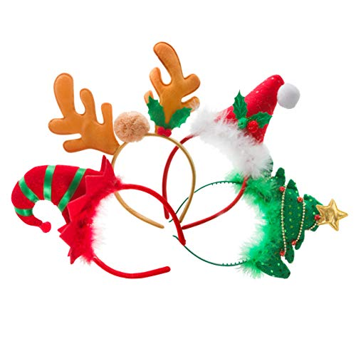 PINE AND PAINT LLC Christmas Headbands Photo Props Set of 4 Santa Elf Reindeer Tree Party Supplies