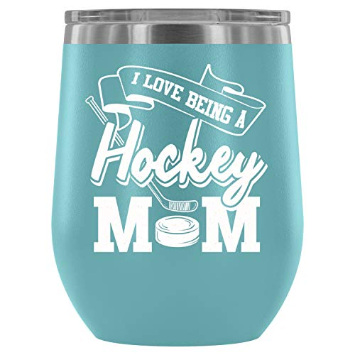 I Love Being A Hockey Mom Wine Tumbler Cup, Hockey Players Steel Stemless Wine Glass Tumbler, Wine Tumbler Sippy Cup with Lid for Red Wine, Cocktail (12oz - Light Blue)