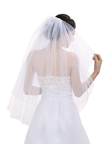2T 2 Tier Pencil Edge Center Gathered Rhinestone Crystal Bridal Wedding Veil - White Fingertip Length 36