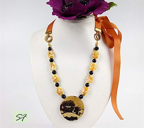 ST158 Chohua JASPER Gemstone Pendant Cabochon Handcrafted Jewelry JustForHer Wire Wrapped Pendant Healing Womans Necklace MoonfeathersGems