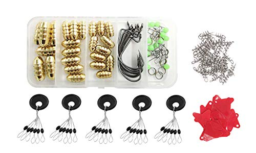 Drchoer 170pcs Carolina Rig Kit Texas Rig with Brass Sinker Weights Jig Hooks Fishing Swivel Ring Connector Rubber Stops Spinner Blades Spring Twist Lock for Freshwater Saltwater Bass Fishing