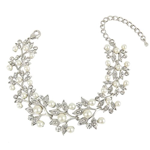 EVER FAITH Silver-Tone Austrian Crystal Ivory Color Simulated Pearl Bridal Leaf Link Bracelet Clear