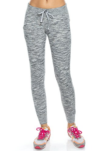 KAYLYN KAYDEN KLKD A180 Women's Slim Fit Tapered Jogger Sweatpants with Pockets Marled Charcoal Large (Grey Yoga Marled Pants)