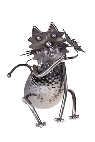Kitty Cat with Butterfly Wine Bottle Holder by Clever Creations | Premium Metal Design Easily Fits Any Standard Wine Bottle | Wide Stable Base | Stainless Steel | Measures 6