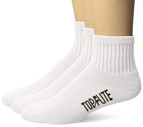 Top Flite Men's Sport Full Cushion Quarter Socks 3 Pair Pack,  White, Large (10-13) - Shoe Size 9-13