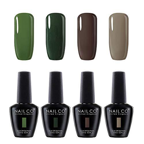 (NAILCO Nail Gel Polish Lacquer-4 Pcs (Elegant New Design) Soak Off Varnish Manicure Kit Set25 No Wipe Top And Base Coat For DIY Make Up Accessories Art Sticker Decoration Nail Stamping Plates Salon)