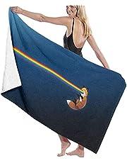 LUYIQ Strandhanddoeken, microvezel strandhanddoeken groot, vos regenboog, 52x32 inch, zandvrij, sneldrogend, lichtgewicht strandhanddoeken voor sport, zwemmen, yoga, gym, reizen, kamperen
