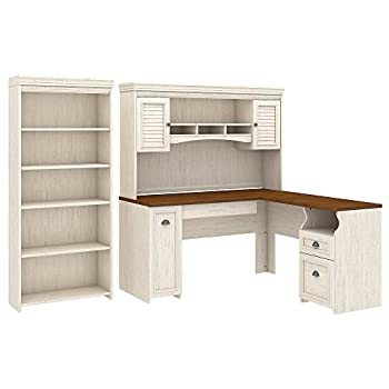 Fairview L Shaped Desk with Hutch and 5 Shelf Bookcase in Antique White