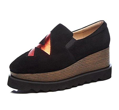 36To40 Carré Véritable En Chaussures Forme Plate Mocassins Rétro Femmes Taille Wedge xie Cuir cpY7FyqRpw