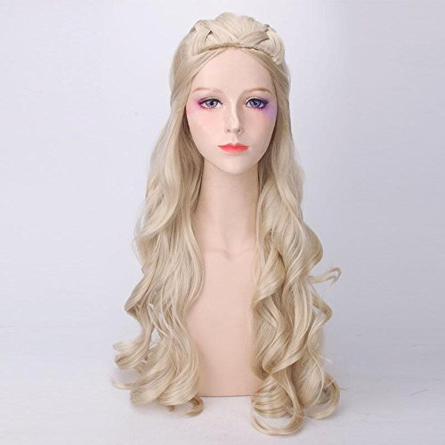 Price comparison product image Meier Long Light Blonde & Silver White With Cosplay Wavy Wigs For Women (Color : Light Blode)