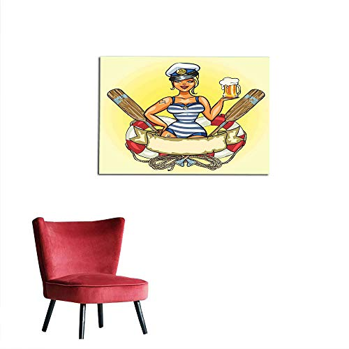 kungfu Decoration Wall Sticker Decals Girls,Pin Up Sexy Sailor Girl Lifebuoy with Captain Hat and Costume Glass of Beer Feminine,Multicolor Custom Poster W35.4 x -