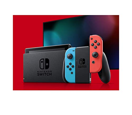 Nintendo Switch V2 Game Console - Black (HAC-001(-01) w/ OEM Blue/Red Joycon (Renewed)
