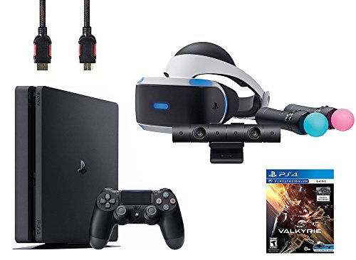 PlayStation VR Start Bundle 5 Items:VR Headset,Move Controller,PlayStation Camera Motion Sensor, Sony PS4 Slim 1TB Console – Jet Black,VR Game Disc PSVR EV-Valkyrie