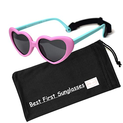 Sweetheart- Best First Sunglasses for Infant, Baby, Toddler! 100% UV Protection. Many Colors and Sizes! (Infant (0 Year) 105mm, Pink and Teal 105mm - Polarized with Strap (1 Pair)) ()