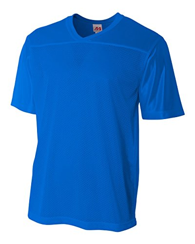 Youth Royal Large (Blank Back) Moisture Wicking V-Neck Football Jersey by A4 Sportswear