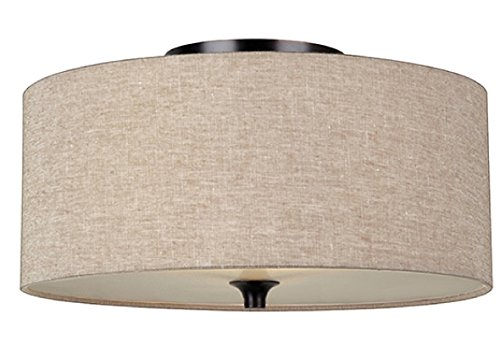 Flush Mount with Beige Linen Fabric Shade - Linen Flush Shade