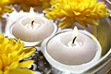 YIH 3'' White Unscented Dripless Floating Tealight Shape Candles Set (24Pack)