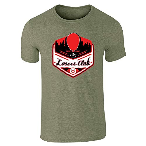 Pop Threads Losers Club Derry Maine Logo Horror Halloween Heather Military Green M Short Sleeve T-Shirt for $<!--$13.50-->