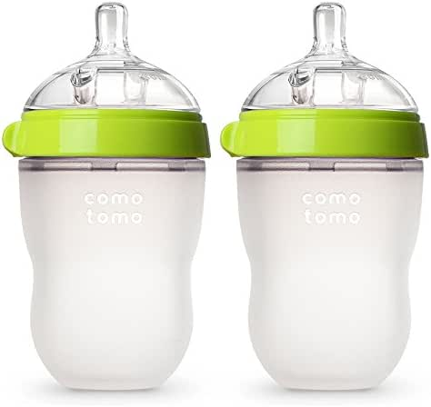 Comotomo Baby Bottle, Green, 8 Ounce (2 Count)