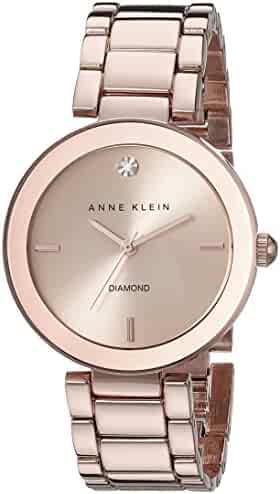 Anne Klein Women's AK/1362RGRG Rose Gold-Tone Diamond-Accented Bracelet Watch