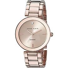 Anne Klein Women's AK/1362RGRG Rose Gold-Tone Diamond-Accented Bracelet Watch