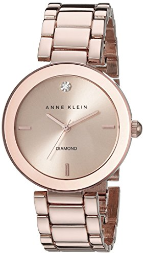 (Anne Klein Women's AK/1362RGRG Rose Gold-Tone Diamond-Accented Bracelet Watch)